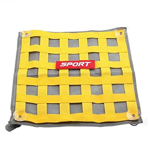 BANJICRAFT JDM/USDM/KDM Racing Style Car Side Window Sunshade, Privacy Protection, Windbreak Net, Safety Net for Racing Window - 2 PCS Set (Yellow)