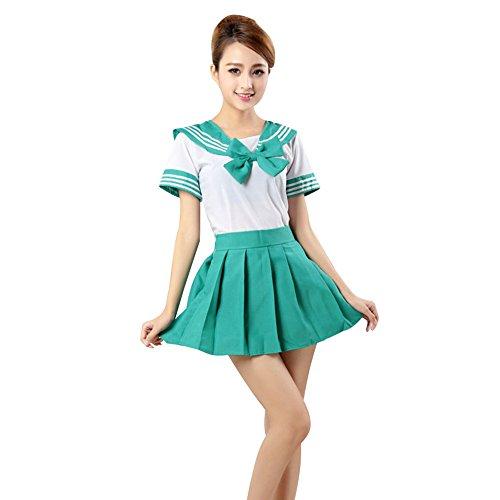 YFCH Uniforme de Escolar Japones para Mujer Disfraz de Cosplay Anime Traje de Marinero Halloween, Verde, S(Altura:153-155cm)
