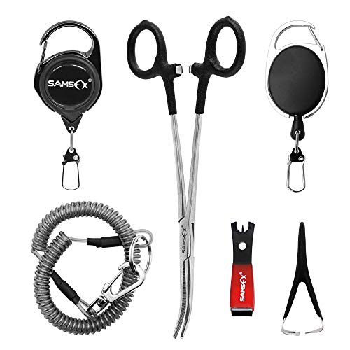 SAMSFX Fly Fishing Tools and Accessories Combo for Anglers Vest Backpack Assortment (Black 6 in 1)