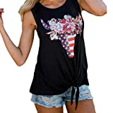 Leewos Hot Sale! 2019 Fashion!Womens Sleeveless Blouse Independence Day Star Flag Printed Tank Tops Vest Black from Leewos Hot Sale!