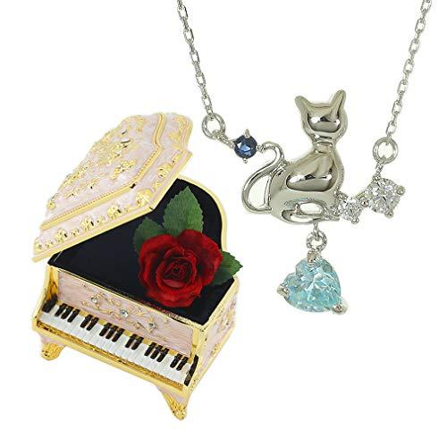 [デバリエ] yg802 9月誕生日プレゼント女性 彼女 妻 母 人気 誕生石 天然石 オルゴールセット 揺れる ネックレス レディース ゴールド ラッピング付 (ネックレス1組 オルゴール付きピアノジュエリーケース1組)(サファイヤ)