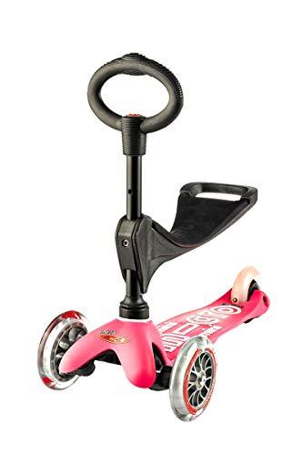 Micro® Mini 3en1 Deluxe Plus. Patinete evolutivo 3 Ruedas, 1,5 - 5 años, Manillar Regulable 48-68cm, Asiento de Aprendizaje. (Rosa)