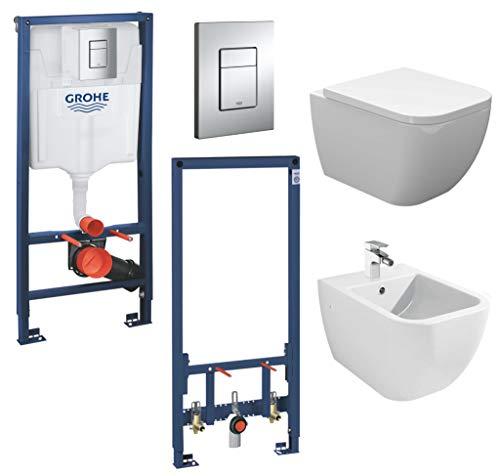 vanvilla Wand Hänge WC Toilette spülrandlos SoftClose-Deckel Hänge-Bidet Tara mit Grohe Vorwandelement SET