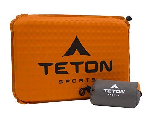 TETON Sports Camping Seat Cushion; Stadium Seat; Office Chair; Car Pad; Inflatable , Orange, 17 x 12 x 1.5-Inch