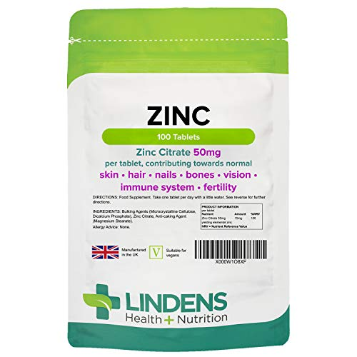Lindens Zinc Citrate 50mg Tablets - Supports Immune Function, Fertility, and the Maintenance of Healthy Bones, Vision, Hair, Nails, and Skin - 100 Tablets