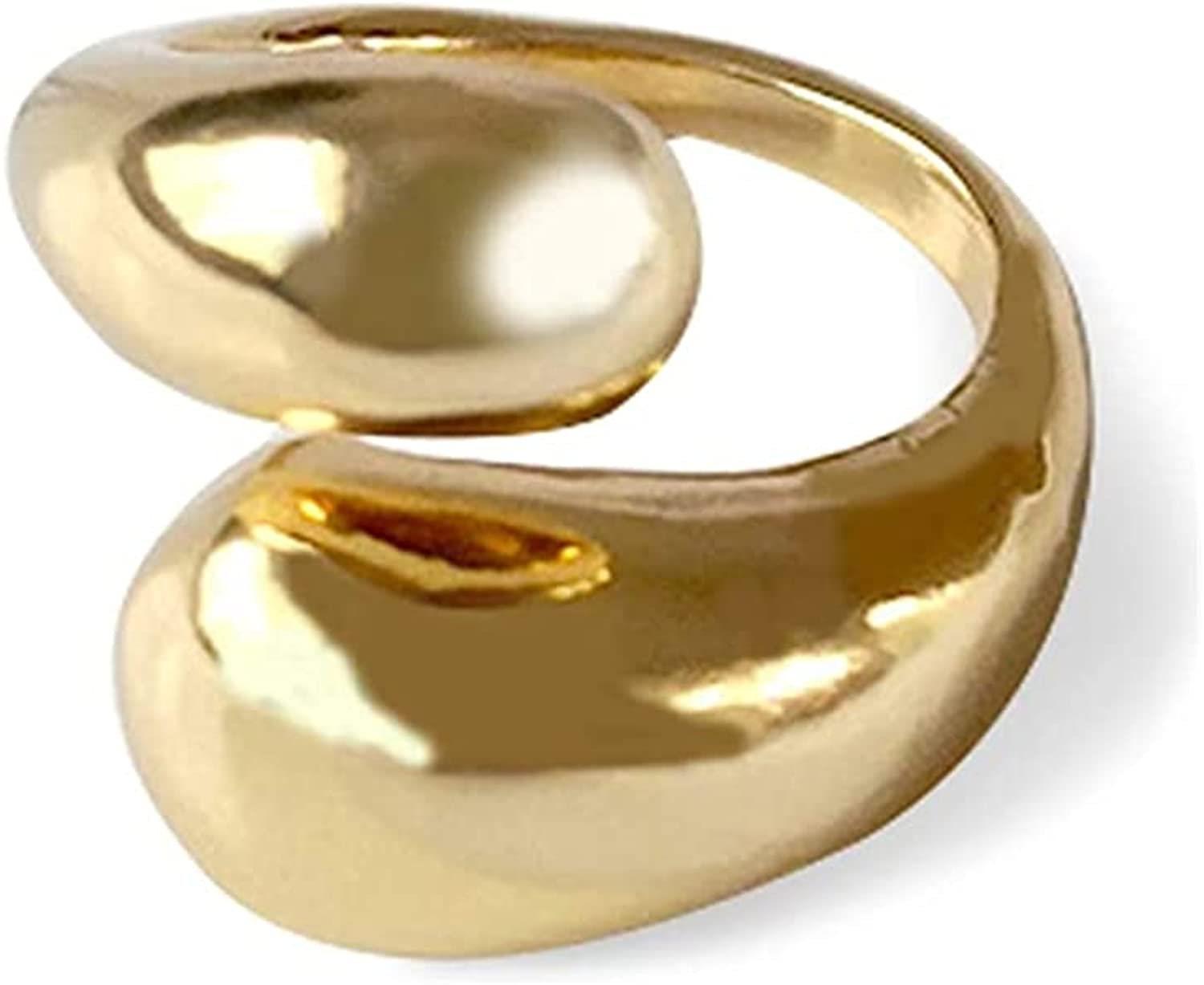 Pingyongchang Opening Ring 14k Gold Plated Simple Adjustable Dome Teardrop Irregular Exaggerated Cross Wound Ring