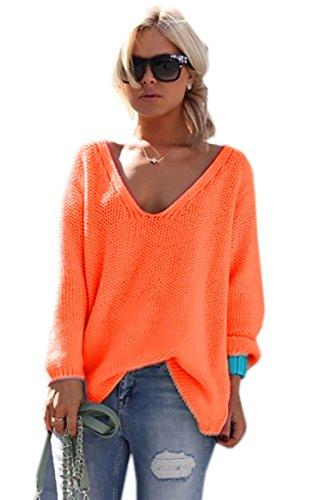 Mikos*Damen Frauen Strickpullover Pullover Pulli Strick Oberteile Oversized Sommer Herbst Frühling One Size (617 Neon Orange)