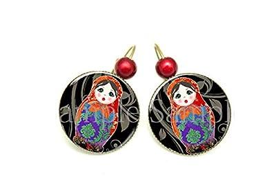 Boucles d'oreilles Poupée Russe - cœur violet noir rouge rose cabochon bronze Matriochka cadeau bijou fantaisie