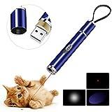 BiuCat C6 LED Pointer Katzen Hund 3 in 1 Katze Chaser Spielzeug Katze interaktive Spielzeug, USB-Direktladung, Geschenkbox (Blau)