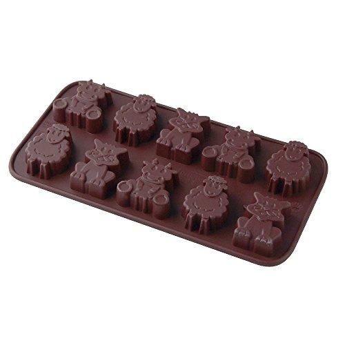 """Dr. Oetker Silikon-Schokoladenform """"Kleine Farm"""", Schokoladenkühe, -schafe und -katzen für Ostern aus der Serie """"Confiserie"""" (Farbe: Braun), Menge: 1 Stück"""