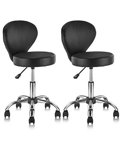 KLASIKA Rolling Swivel Salon Stool Chair with Back Support Adjustable Hydraulic for Office Massage Facial Spa Medical Drafting Tattoo Beauty Barber 2...