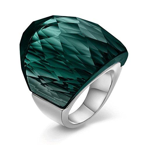 Edelstahl Ringe, Damen Kristall Breite 31MM Gr.57 (18.1) Grün Epinki