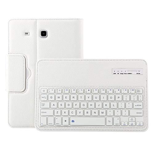 LICHONGGUI For Galaxy Tab E 9.6 / T560 2 en 1 Teclado Bluetooth Desmontable Litchi Funda de Cuero con Textura y Soporte (Color : Blanco)