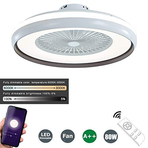 SFOXI Fanlampe Deckenventilator mit Lichtern Leise LED-Licht Geräuscharmes App Steuerung Dimmbar 80W Moderne LED-Deckenleuchte für Schlafzimmer Wohnzimmer Esszimmer Ø60CM,Schwarz