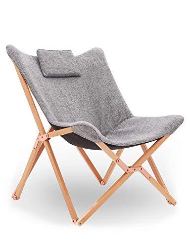Klappstuhl Liegestuhl Gartenliege Lounge Sessel Modern Design Hochlehner TV Relaxliege Stühle Klappbar Mit Holz und Stoff Für Camping Drinnen und Draußen Hell Grau