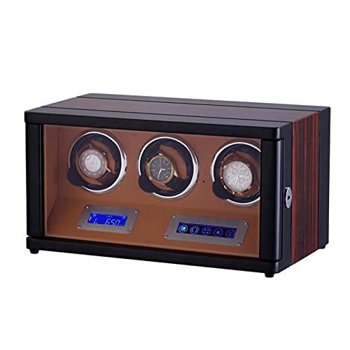 Caja Giratoria para Relojes Reloj Winder, Smart Automatic Watch Windering Box Con El Controlador Led Tock Meter Dispositivo Rotante Con El Control Remoto Caja De Relojes Mecánicos Automá(Color:marrón)
