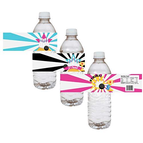 Mädchen Bowling Wasser Flaschen etiketten - Kid Birthday Entertainment Sport Party Drink Aufkleber - Set von 12