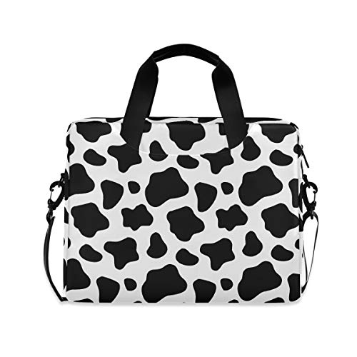 ALAZA Black and White Cow Print Laptop Case Bag Sleeve Portable Crossbody Messenger Briefcase w/Strap Handle, 13 14 15.6 inch
