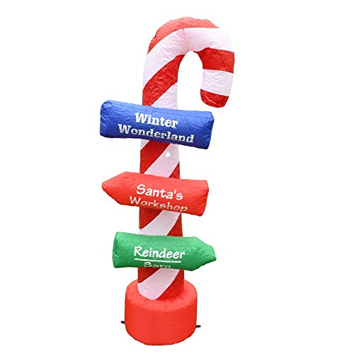 ALEKO Inflatable LED Christmas Directional Candy Cane Sign with UL Certified Blower - 5 Foot – Christmas Décor, LED Outdoor Christmas Decorations