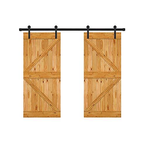 GWXFHT Schuifschuur deurkit 200-400CM Dubbele deur Plafond montage beugel Schuifdeur Track Kit, Rustiek Zwart Rechte Roller
