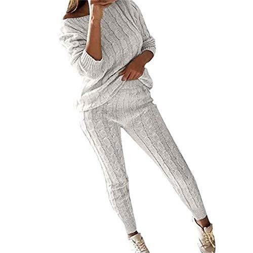 Juleya Frauen Stricken Zweiteilige Sweatsuit U-Ausschnitt Sweatshirt Trainingsanzug Schulterfrei Oversize Pullover Top Lounge Wear Jumper Set schlanke Lange Hosen Set