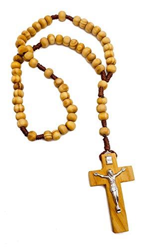 Nazareth Store Original Jerusalem Olivenholz Rosenkranz katholische Holz Gebetskette Kordel christliches Geschenk in Samtbeutel