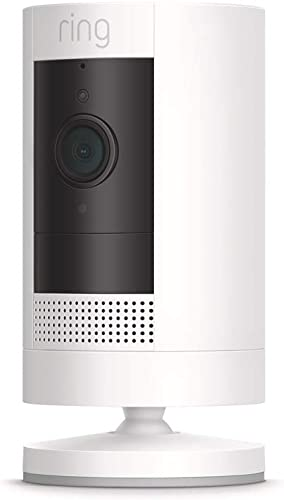 Ring Stick Up Cam Battery HD security camera with custom privacy controls, Simple setup, Works with Alexa - White