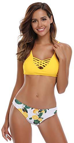 SHEKINI Mujer Conjunto de Bikini de Dos Piezas Almohadillas Bañador Estampar Trajes de Baña (Estilo A: Amarillo, Medium)