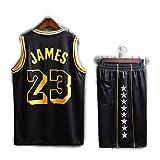 divise da basket、maglie JAMES 23#レイカーズDivise da allenamento、set di divise da basket riutilizzabili、maglietteスポーティーなassorbenti del sudore e traspiranti per i fan-black-X