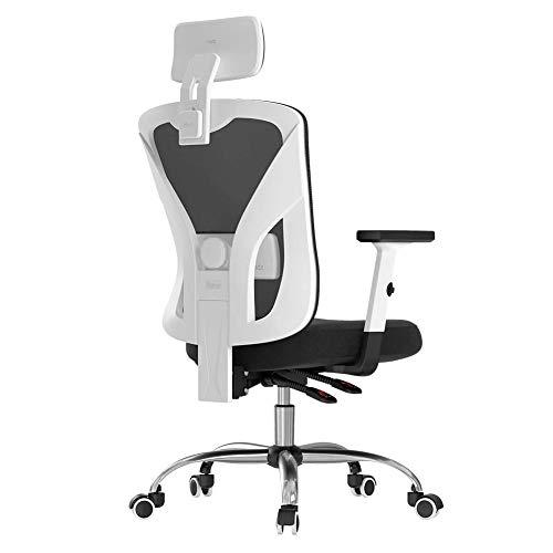 GQFGYYL-QD Bürostuhl mit Taillenstütze, Verstellbaren Armlehnen, Kopfstütze und Atmungsaktivem, Hautfreundlichem Netz, Weiß