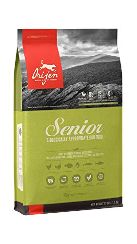ORIJEN Senior Dry Dog Food, Grain Free, High Protein, Fresh & Raw Animal Ingredients, 25lb