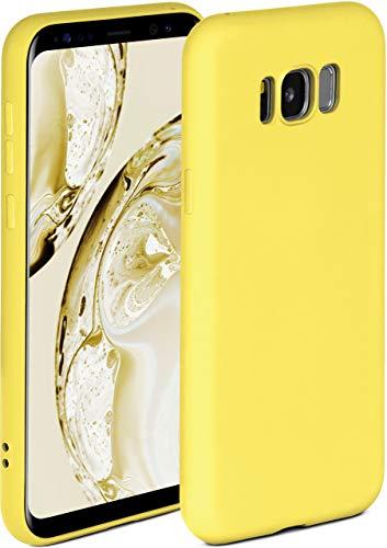 ONEFLOW Soft Hülle kompatibel mit Samsung Galaxy S8 Hülle aus Silikon, erhöhte Kante für Displayschutz, zweilagig, weiche Handyhülle - matt Gelb