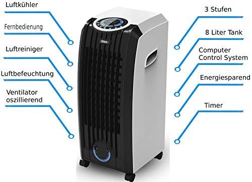 3in1 Aircooler | 8 Liter | Mobile Klimaanlage | Klimagerät | Luftreiniger | Klima | Ventilator mit Fernbedienung | Luftkühler | Luftbefeuchtung | Klima Anlage |