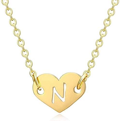 YZXYZH Collar Romántico Amor Corazón Letra Colgante Collar para Niñas Mujeres Inicial Hueco Alfabeto Colgante Collar Regalo para Mujeres Collar