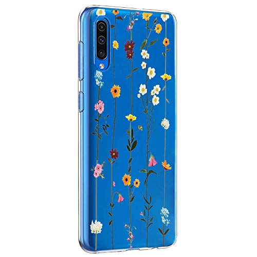 Riyeri Hülle Compatible with Samsung Galaxy A50 Hülle Cover Transparent Soft TPU Silikon Bumper Handyhülle für Samsung A50 Mobile Phone - Blume (A50, 15)