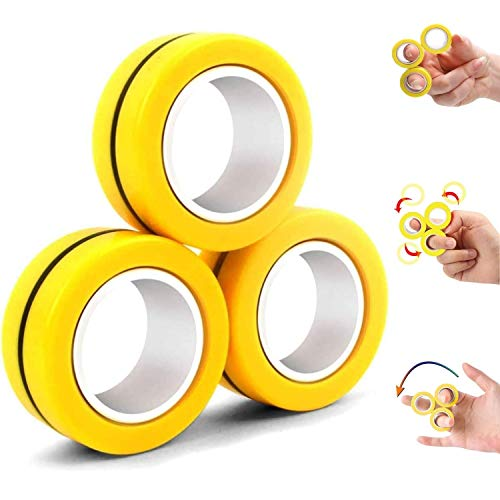 FATIZONE 3pcs Fingears Magnetic Rings Fidget Spinner Toy | Stress, Anxiety Relief Magnetic Spinner...