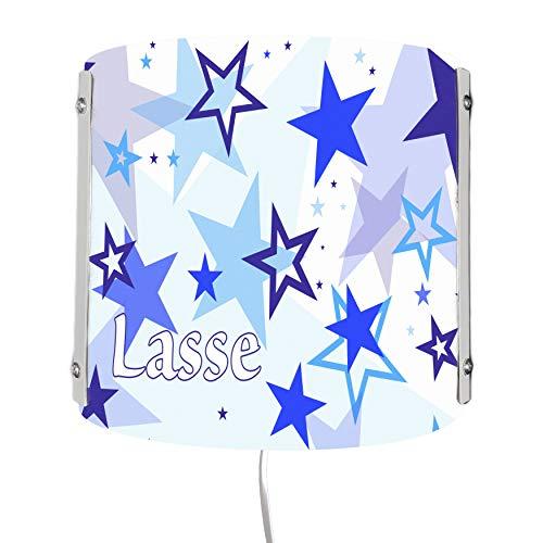 CreaDesign WA-1030-01, Sterne blau, Kinderzimmer Wandlampe personalisiert mit Namen, Nachtlicht/Schlummerlicht für Steckdose, E14, 22 x 22,5 x 85 cm