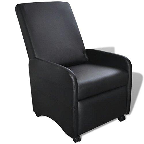 Festnight- Klappbarer Liegestuhl Klappstuhl aus Kunstleder Relax Wohnzimmer Sessel Liegesessel mit Armlehnen Schwarz