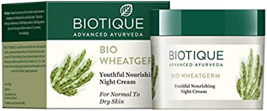 Biotique Bio Wheat Germ Youthful Nourishing Night Cream 50G/1.76 Fl.Oz. I For Normal To Dry Skin I Prevents Skin Darkening And Premature Aging Moisturizes And Strengthens Skin Pores Neutralizes Skin Damaging Radicals Treats Minor Skin Problems