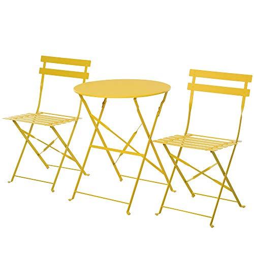 Outsunny Set 3 Pezzi Tavolino con Sedie da Giardino Pieghevoli, Mobili da Esterno in Metallo, Giallo
