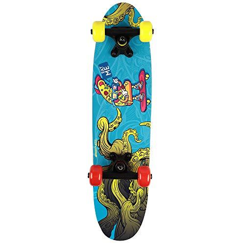 Skateboard Kinder - Mini Skateboard mit Kugellager für Jugend. Aus Holz gemacht und mit Griptape. Moderne Grafiken. Sportgeräte für die Jüngsten (Blau)