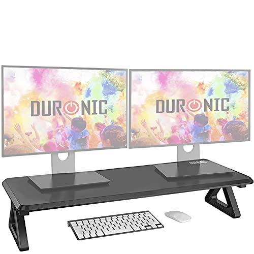 Duronic DM06-2 Elevador para 2 Pantallas, Ordenador Portátil, Televisor, Mesa Gamer, TV, PC, Portátil - 82 x 30 cm- Metacrilato Negro – hasta 10 kg