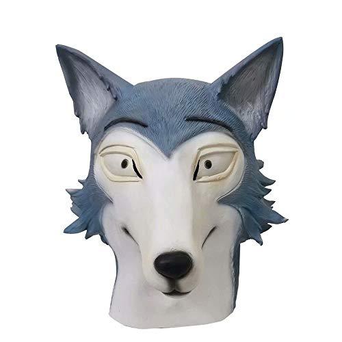 QtjwjkfL2612 Mscara de Beastars, mscara de Cabeza de Conejo Haru y Lobo Legosi, mscara de ltex, mscara de Animal de Cara Completa, Sombrero para Disfraz de Cosplay de Halloween