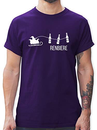 Typisch Männer - Renbiere - S - Lila - Tshirt Herren Frau - L190 - Tshirt Herren und Männer T-Shirts