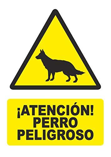 Señal atencion perro peligroso - PVC 0,7mm - 21 x 30cm –...