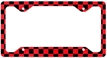 Multistory 2X Checkered Flag Racing License Plate Frame Cover for Mini Coopers Countryman Clubman 2 Black Red