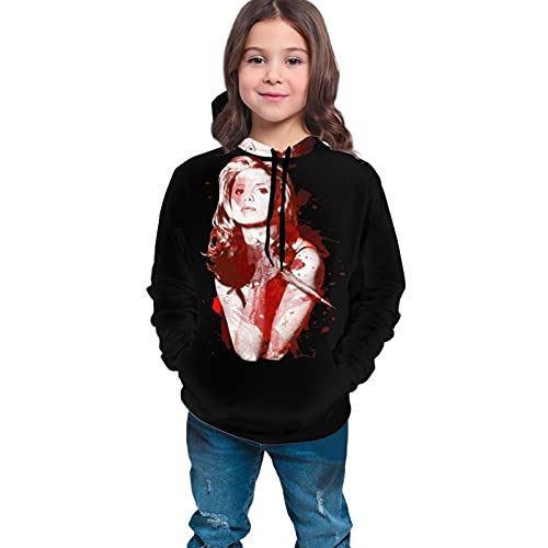 Buffy The Vampire - Sudadera con capucha para niños y niñas, de manga larga para adolescentes de 10 a 12 años, color negro