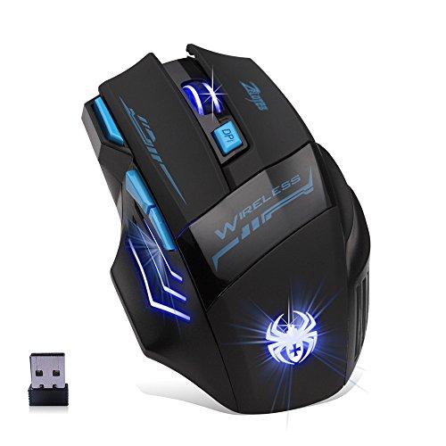 Gaming Maus Kabellos, Lychee Wireless Bluetooth Optische Mouse 2.4G 2400 DPI Einstellbare USB Gaming Silent Funkmaus mit Cool Atmungslicht für PC LaptopMac, Windows 2000 / XP / 7/8/10 / Vista