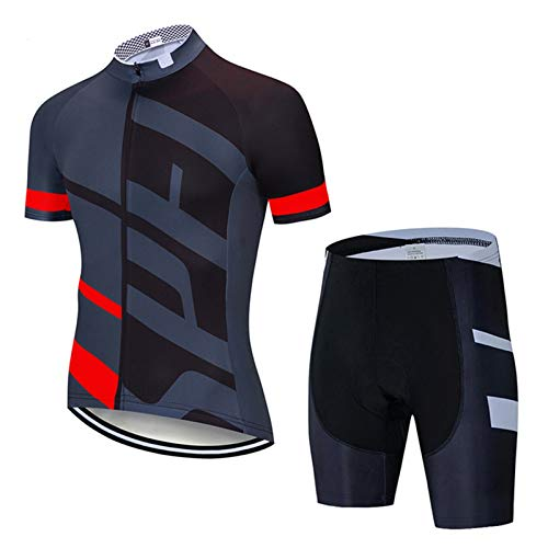 Short Sleeve Cycling Jersey for Men, Comfortable Quick Dry 20D Padded Bib Shorts Mountain Bicycle Clothes MTB Riding Clothing kit (Color : Gray 3, Size : E(XL))