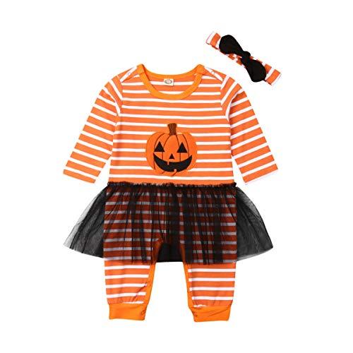 Kleinkind Baby Boy Girl Halloween Kostüme gestreiften Kürbis Lächeln Strampler Overall Tüll Rock Bro Schwester passende Outfits (Wie Gezeigt, 70)